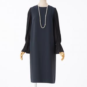 UNITED ARROWS ユナイテッドアローズ サテンシフォンギャザースリーブドレス