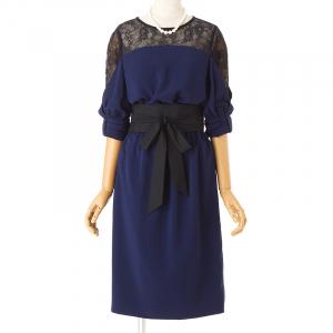 Select Shop 袖リボンベルトストレートラインドレス