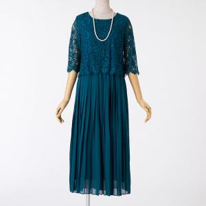 Select Shop レースレイヤードプリーツドレス グリーン