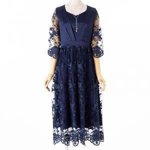 Select Shop チュールフラワー刺繍ドレス