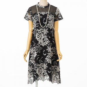 GRACE CONTINENTAL グレースコンチネンタル チュールオーナメント刺繍フレアドレス ブラック