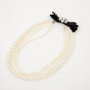 Dorry・Doll ドリードール 後ろリボンビジューモチーフ4連ネックレス ホワイト×ブラック