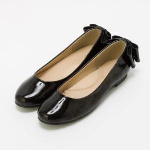 Select Shop エナメルバックリボンローヒールパンプス ブラック/23.5