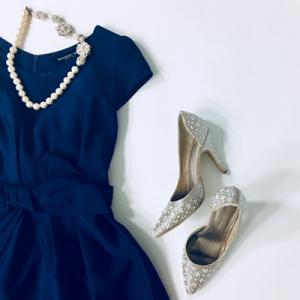 ドレスと華やかパール&ビジュー靴