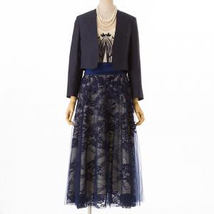 Select Shop 【ドレス3点SET】刺繍レース バイカラーネイビー
