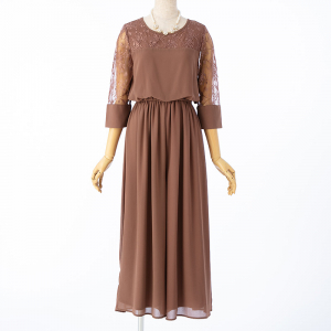 Select Shop レース切替ワイドパンツドレス モカ