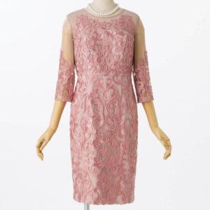 グレースコンチネンタル刺繍タイトドレスピンク