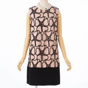 GRACECONTINENTALグレースコンチネンタルのビッグフラワー刺繍配色ドレス