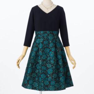 グレースコンチネンタルフクレフラワージョーゼットドレス