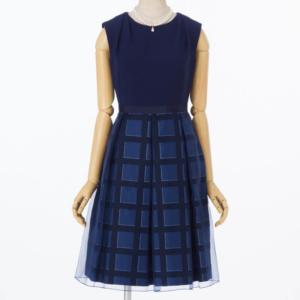 エメチェックラインスカートドレス