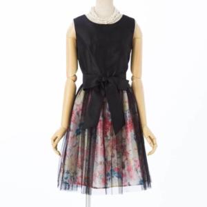 アプレジュールフラワープリントラメジャガードドレス