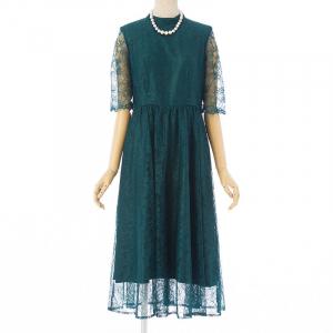 ラッセルレースロングドレス グリーン