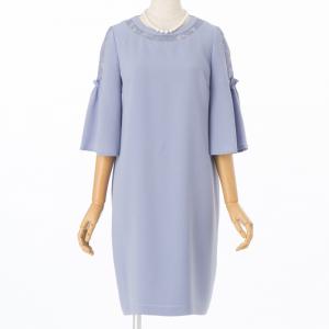 JILL STUART ジルスチュアート メグフレア袖サックドレス ブルー/M