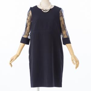 Select Shop 【授乳口付】カフススリーブレースドレス ネイビー
