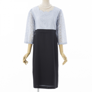 Select Shop 【授乳口付】スカラップレースドレス サックス/LL