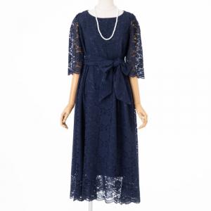 Select Shop 【授乳マタニティ】総レースロングドレス ネイビー