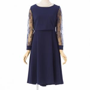 Select Shop 【授乳口付】袖レースレイヤードドレス ネイビー