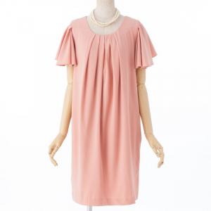 Select Shop 【授乳マタニティー】フレアベルスリーブドレス ピンク/F