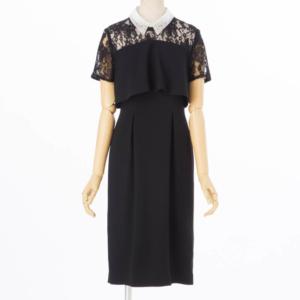 グレースコンチネンタルオーガン刺繍襟ドレスブラック