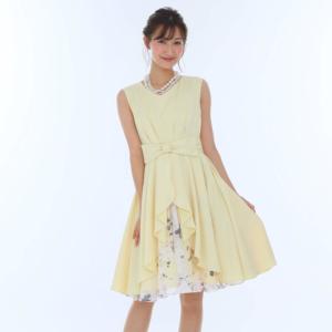 Aimerエメのセンターリボン×オパールプリントドレス