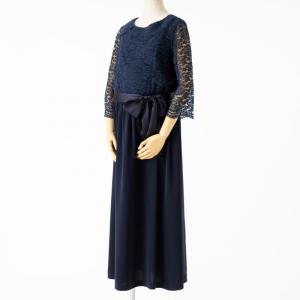 Select Shop 【授乳マタニティ】ブラウジングレース切替ドレス ネイビー
