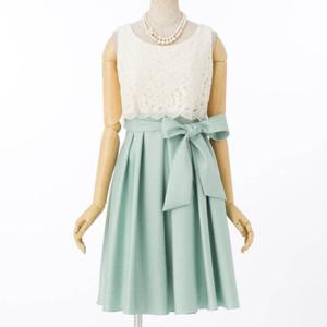 Aimer エメ レース×シャンタンスカートドレス
