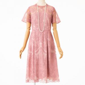 GRACE CONTINENTAL グレースコンチネンタル フリルネックチュール刺繍フレアドレス ピンク