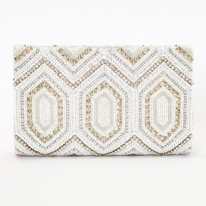 GRACE CONTINENTAL グレースコンチネンタル パターンビーズ刺繍クラッチ ホワイト