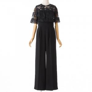 LADYオーバーレースワイドパンツドレス ブラック