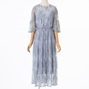 Select Shop 総レースフレアスリーブドレス