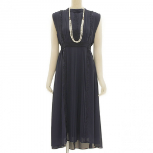 Select Shop スタンドカラープリーツドレス ネイビー/M