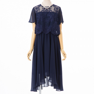 Aimer エメ 刺繍シフォン袖付きドレス ネイビー/S-M