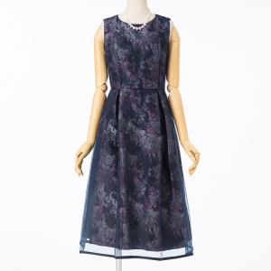 Select Shop フラワージャガードオーガンジードレス  ネイビー/M