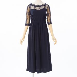 Select Shop 【授乳口付】レース切替ロングドレス