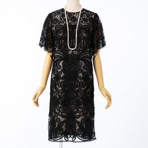 GRACE CONTINENTAL グレースコンチネンタル レース切り替えコード刺繍ドレス ブラック/M-L