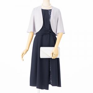 Je super 【ドレス3点SET】ジュシュペール 配色ねじりリボンドレス ネイビー/M