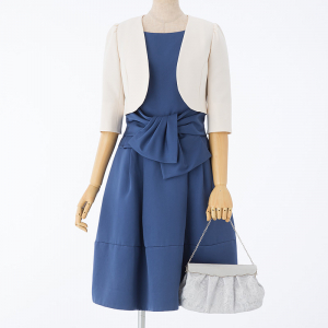 JUSGLITTY 【ドレス3点SET】ウエストリボンフレアドレス ブルー/M