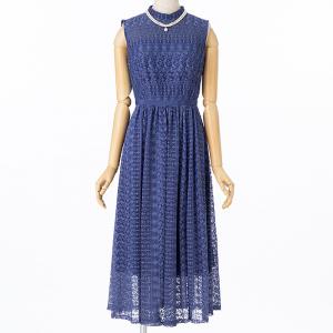 Aimer エメ クロシェ風レースドレス ブルー