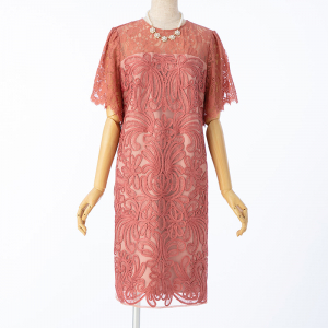 GRACE CONTINENTAL グレースコンチネンタル レース切り替えコード刺繍ドレス コーラルオレンジ/M-L