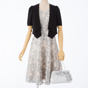 Dorry・Doll 【ドレス3点SET】コードレースドレス グレー×アイボリー/M