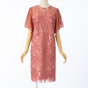 GRACE CONTINENTAL グレースコンチネンタル レース切り替えコード刺繍ドレス コーラルオレンジ/S-M