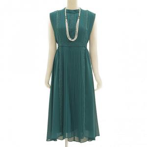 Select Shop スタンドカラープリーツドレス グリーン/M