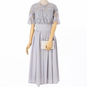 LAGUNAMOON 【ドレス2点セット】ラグナムーン LADYオーバーレースギャザードレス ライトグレー/M