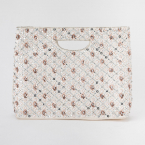GRACE CONTINENTAL グレースコンチネンタル レイヤースパン刺繍バッグ ベージュ