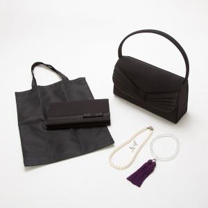 Select Shop 【小物フルセット】ドレープサテンリボンバッグセット ブラック