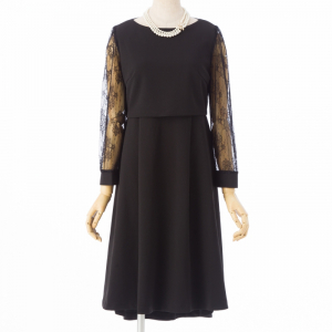 Select Shop 【授乳口付】袖レースレイヤードドレス ブラック/M
