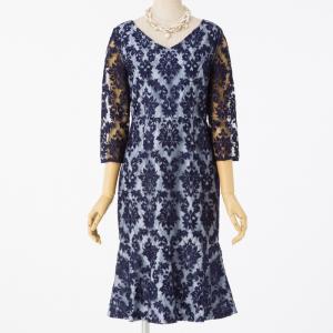 GRACE CONTINENTAL グレースコンチネンタル 刺繍マーメイドドレス ネイビー