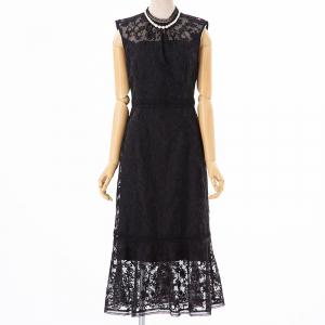 FRAY I.D フレイアイディー  オーガンジー刺繍ドレス ブラック/M