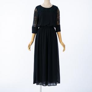 Select Shop レース切替ワイドパンツドレス ネイビー