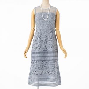 Select Shop ケミカルレースボーダー切替えドレス